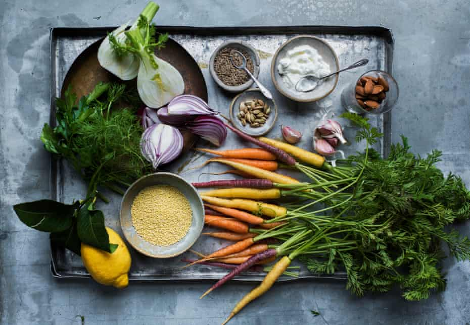 Ingredients for millet, harissa and roasted carrot salad