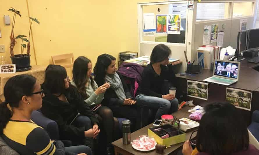 Watching the inauguration of Donald Trump with a group of student activists, some undocumented, at the University of California, Berkeley.