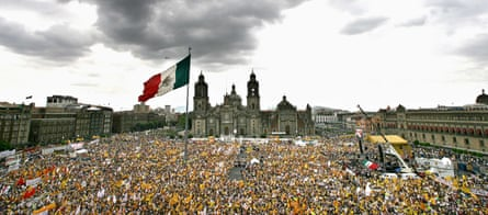 Thousands of Obrador supporters rally in Mexico City, in 2006.