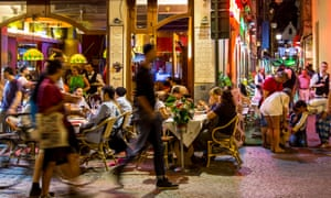 Street cafes in Brussels' Halles Saint-Géry quarter.