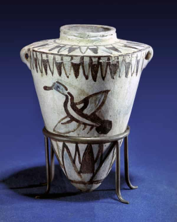 An Ancient Egyptian toilet bowl from the New Kingdom period (1600-1100 BC).