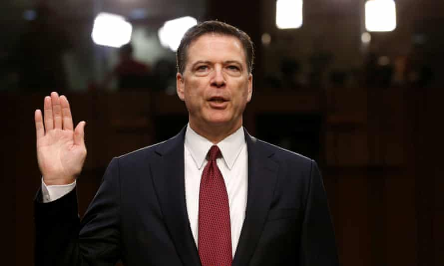 Evidence for the publication … James Comey being sworn in to testify at a hearing in Washington.