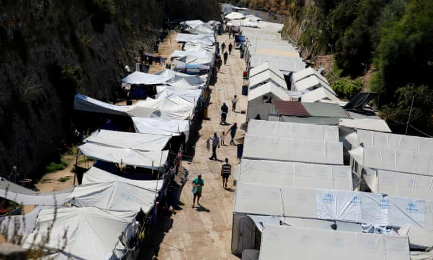 A camp for refugees and migrants on the Greek island of Chios