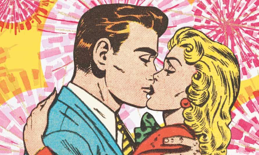 Cartoon characters kissing