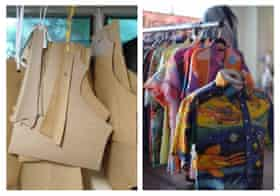 Cardboard patterns (left) Andrew Carpenter uses, and an upcycled Papa Drew shirt