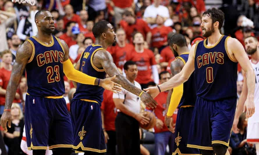 LeBron James, JR Smith and Kevin Love celebrate a smooth passage to the NBA finals