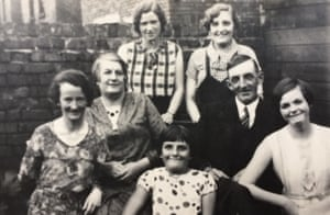 Laura Waugh's family, the Parrys, in around 1930. Laura is wearing a spotted dress.