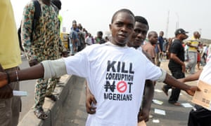A protester sports an anti-corruption T-shirt in Lagos.