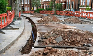 Roadworks on a London street with water pipes being replaced