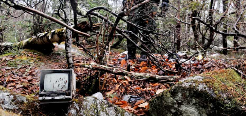 A television found at Christopher Knight's camp.