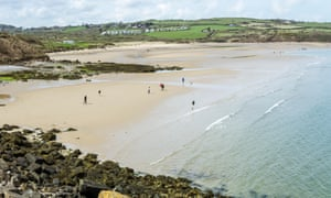 A view of Lligwy beach from the Moelfre to Lligwy coastal path on Anglesey, North Wales, UK.