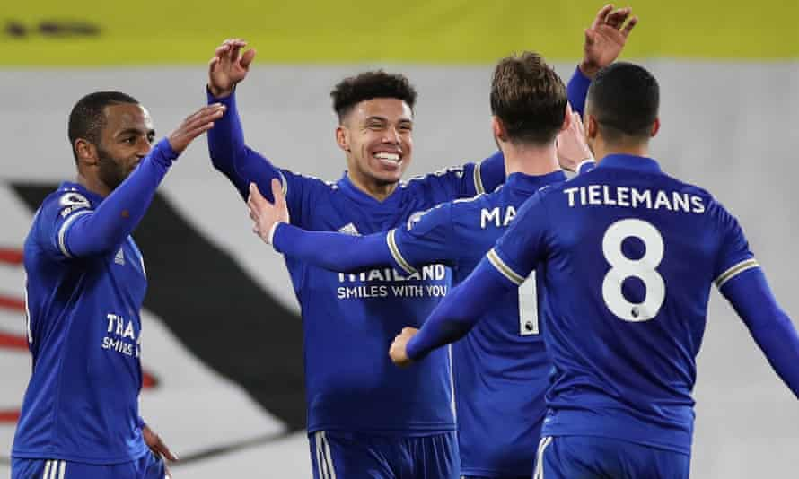James Justin, centre, is congratulated after scoring in Leicester's 2-0 victory over Fulham on Wednesday. The 22-year-old has been excellent at left-back this season.