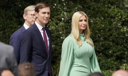 Jared Kushner and Ivanka Trump at the White House on 15 September.