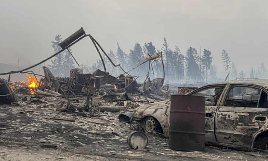 A view of the village of Byas-Kuel after a forest fire, in the vast region of Siberia in Russia