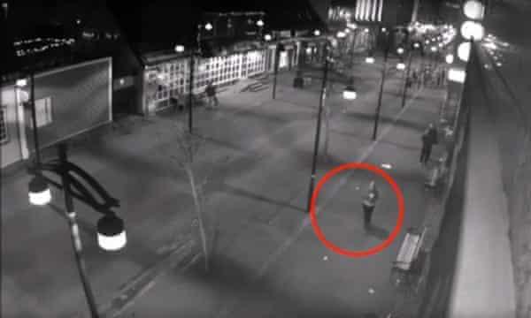 CCTV footage showing Birna Brjánsdóttir (circled) walking through Reykjavik on the night she disappeared (14 January 2017)