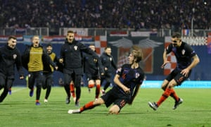 Croatia's Tin Jedvaj celebrates scoring a dramatic Nations League winner against Spain with his second goal of a thrilling game in Zagreb.