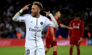 Paris Saint-Germain's Neymar celebrates scoring his side's second goal of the game.
