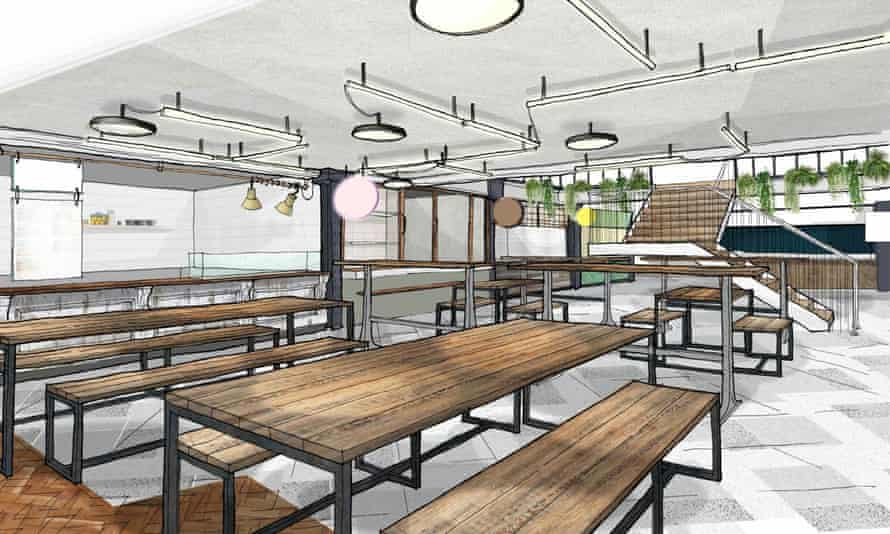 Artists impression of Market Stalls new food site in Fulham, west London.