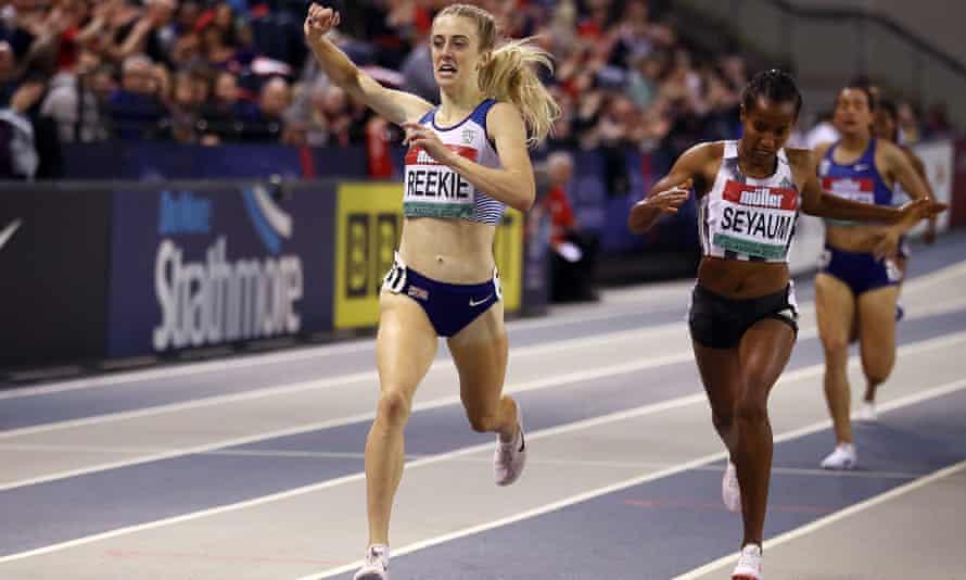 Jemma Reekie celebrates on crossing the finish line