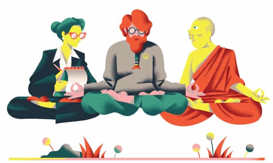 Illustration of people mediatating
