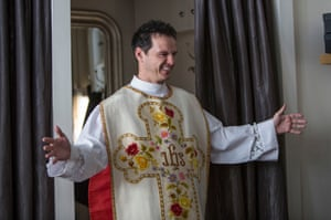 The Priest wearing his chasuble back to front (on purpose)
