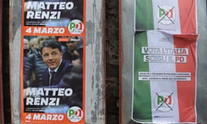 Matteo Renzi, the prime minister, faced calls to step down as head of the Democratic party after his centre-left coalition took just 19% of the vote.