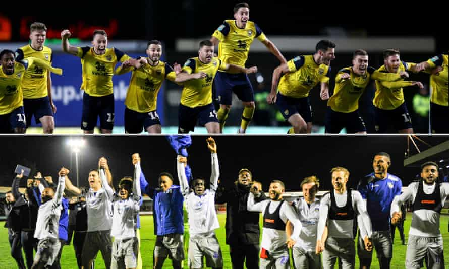 Oxford, top, and Colchester celebrate their Carabao Cup wins over Sunderland and Crawley respectively this week.