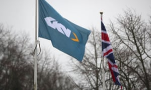 Flags outside the headquarters of GKN in Redditch.