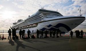 The Diamond Princess is anchored at Daikoku Pier Cruise Terminal in Yokohama.