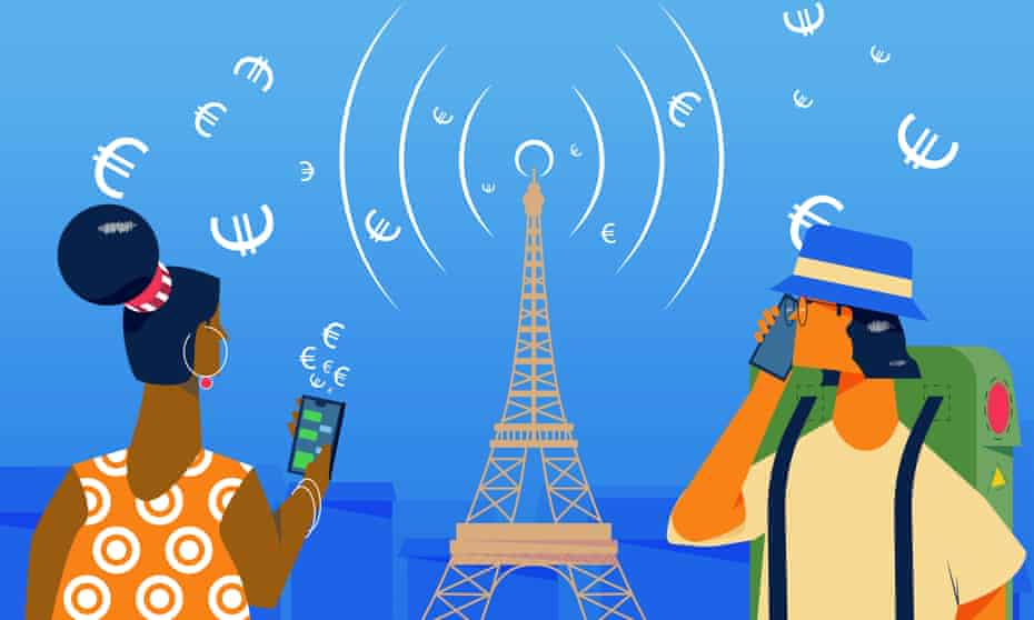 Illustration of people using mobile phones abroad