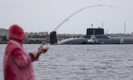 A nuclear-powered ballistic missile submarine in Severodvinsk, Russia