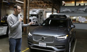 Anthony Levandowski, then head of Uber's self-driving program, speaks about their driverless car in San Francisco, in December 2016.