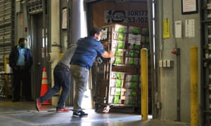 Workers at the Miami-Dade County Election Department move racks of vote-by-mail ballots onto a US Post Office truck to be delivered to voters.