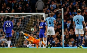 May 6, 2019 Manchester City's Vincent Kompany scores the match-winning goal against Leicester.