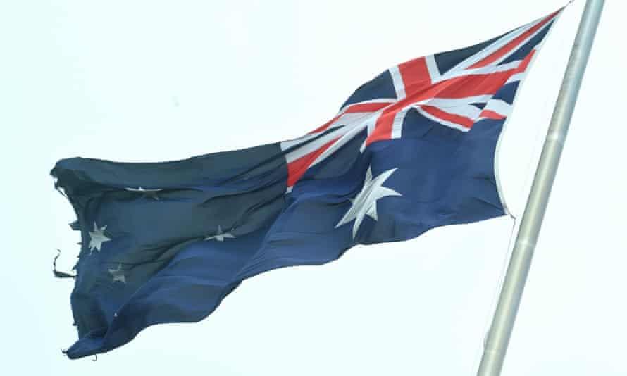A torn Australian flag