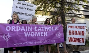 Demonstrators call on Pope Francis to allow female priests.
