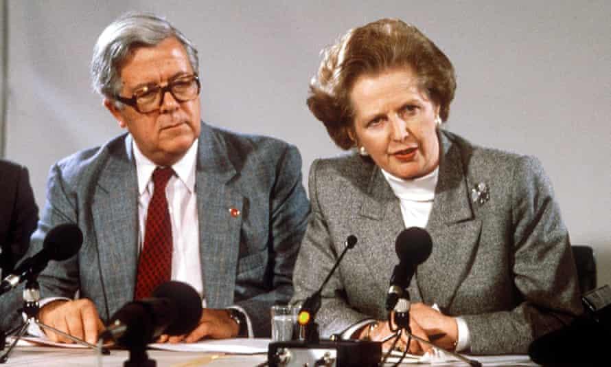 Geoffrey Howe and Margaret Thatcher at a European summit in Copenhagen in 1987