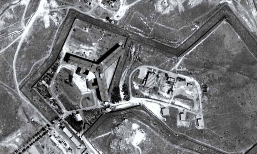 A 'satellite' image of Saydnaya prison, based on an Amnesty reconstruction.