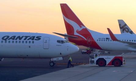 Qantas Boeing 737-800 aircraft on the tarmac at Adelaide airport.