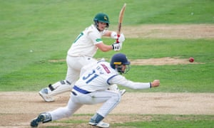 Nottinghamshire's Ben Duckett plays a shot on his way to a half-century at Scarborough.