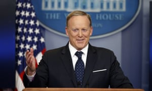 Sean Spicer at a press briefing at the White House on 20 June 2017.