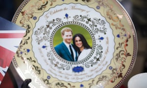 A commemorative plate for the wedding of Prince Harry and Meghan Markle, which will take place on 19 May in Windsor, Berkshire.