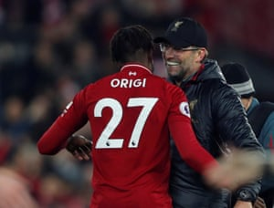 Klopp celebrates with Origi at the end of the match.