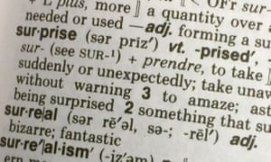 Close-up picture of dictionary with definition of the word 'surprise'