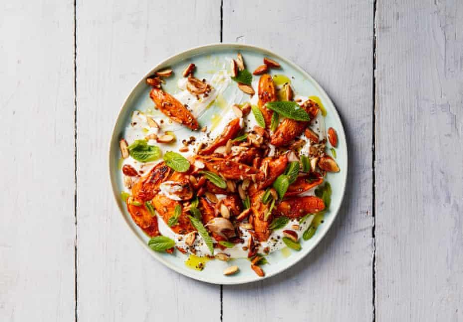 Thomasina Miers' roasted carrots with tahini yoghurt.