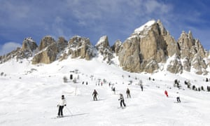 Skiers near Selva di Val Gardena, Santa Caterina, Passo Gardena, Sella Ronda ski trail, Alto Adige, Italy