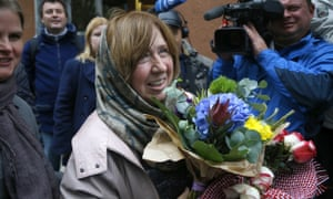 Svetlana Alexievich, surrounded by press in Minsk, Belarus, after her Nobel prize win was announced in October.