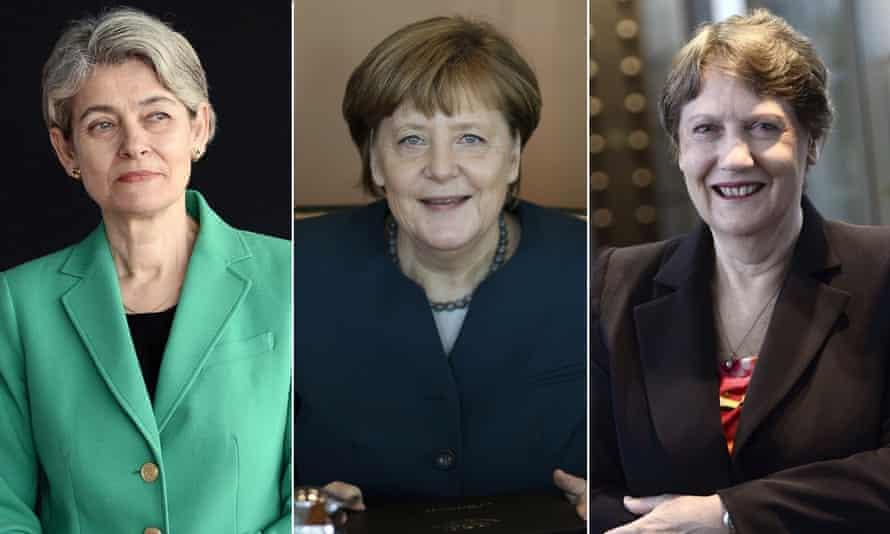 Irina Bokova, Angela Merkel, Helen Clark
