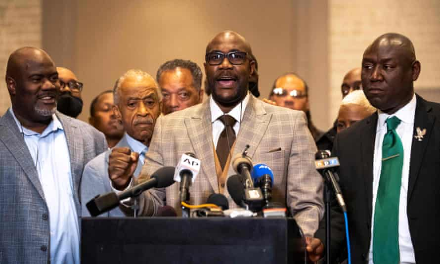 George Floyd's brother Philonise Floyd speaks alongside Reverend Al Sharpton and attorney Ben Crump following the verdict.