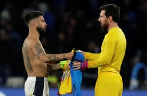 Lorenzo Insigne and Leo Messi after the match.